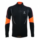 ARSUXEO Men's Long Sleeved Fleece Cycling Jersey Jacket - Black (L)