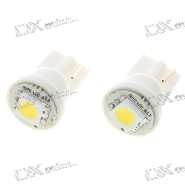 T10 0.2W*2 20-Lumen 1*5050 SMD LED Car White Light Bulbs (Pair/DC 12V) 1157 bay15d 5050 30 smd 4w 6500k 360lm led car light bulbs dc 14v pair