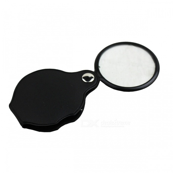 Portable Folding 48mm 5 Times MagnifierMagnifiers<br>Form  ColorBlack + TransparentQuantity1 DX.PCM.Model.AttributeModel.UnitMaterialLeather + Plastic + glassMagnificationOthers,3-5 timesLens SizeDiameter 48 mmPacking List1 X Magnifier<br>