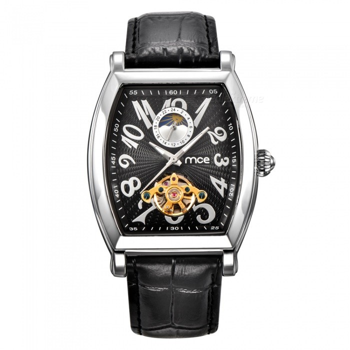 MCE Genuine Leather Strap Tourbillon Mechanical Watch - Black + White