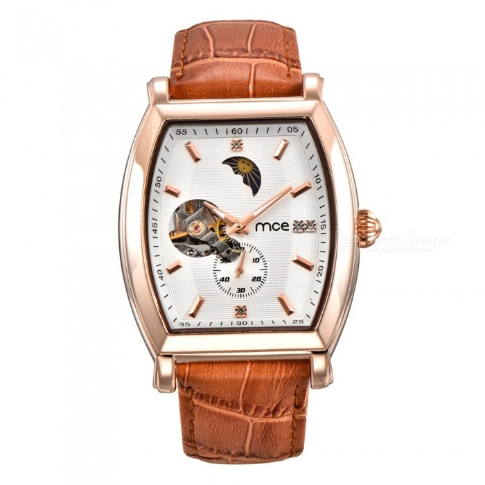 MCE High-grade Genuine Letter Automatic Mechanical Watch- White+ Brown