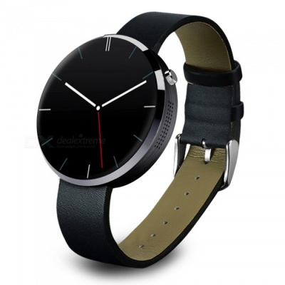 DOMINO DM360 Stainless Steel Case Leather Band Smart Watch - Black
