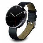 """DM360 1.2"""" IPS Stainless Steel Case Leather Band Smart Watch - Black"""