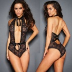 Sexy Lace Deep V Perspective Lacquered Lacquered Lingerie - Black