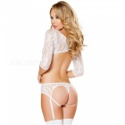 Sexy Five-point Sleeves Lace Rose Jacquard Siamese Underwear - White