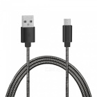 Stainless Steel Spring Micro USB Fast Charging Data Cable - Black (1m)