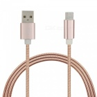 Stainless Steel Spring Micro USB Charging Data Cable - Rose Gold (1m)
