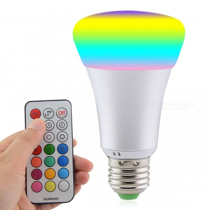 JRLED E27 10W RGB + Cold White LED Bulb Light w/ Remote ControllerColor BINRGB + Cold WhiteMaterialAluminum alloy + PCForm  ColorSilver + White + Multi-ColoredQuantity1 DX.PCM.Model.AttributeModel.UnitPower10WRated VoltageAC 85-265 DX.PCM.Model.AttributeModel.UnitConnector TypeE27Chip BrandEpistarChip Type2835 SMDEmitter TypeLEDTotal Emitters12Theoretical Lumens1000 DX.PCM.Model.AttributeModel.UnitActual Lumens800-1000 DX.PCM.Model.AttributeModel.UnitColor Temperature12000K,Others,RGB+6500KDimmableYesBeam Angle270 DX.PCM.Model.AttributeModel.UnitWavelengthN/ACertificationCE ROHSPacking List1 x E27 10W LED1 x 21-Key IR Remote Controller<br>