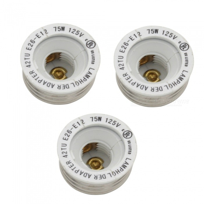 E26 to E12 Light Bulbs Accessories Converters (3 PCS)