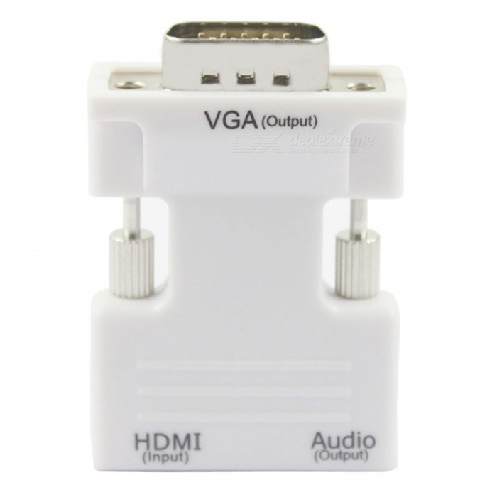 BSTUO HDMI F to VGA M Converter w/ 3.5mm Audio Input Adapter - White