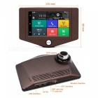 "Junsun 3G 4.2"" Android 5.0 GPS Navigation Dual Lens Car DVR - Brown"