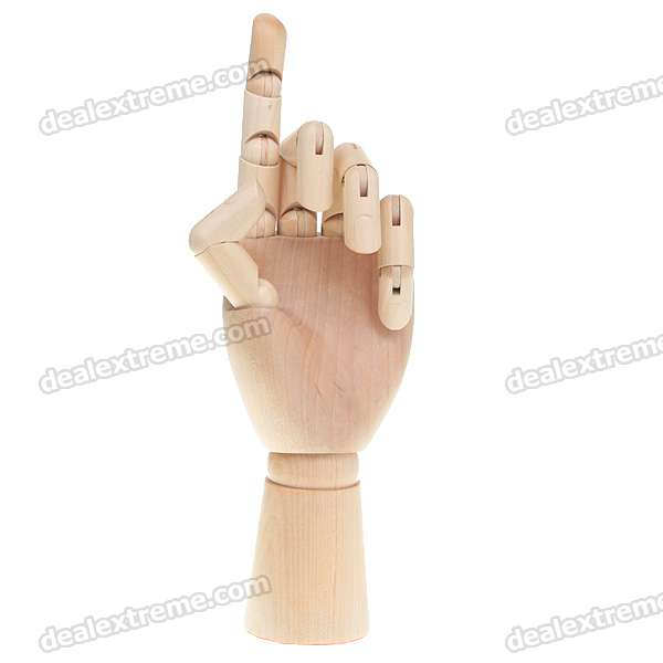 "Wooden 15-Joint Moveable Manikin Woman Hand Model (10"")"