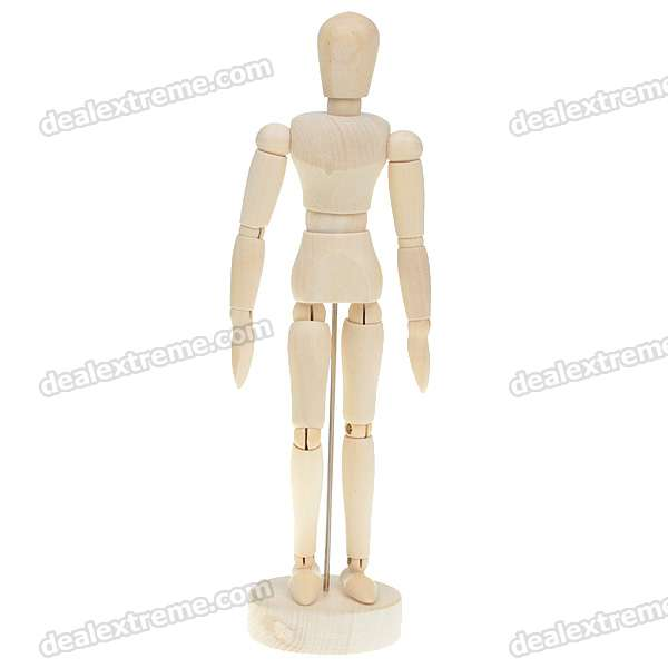 "Wooden 14-Joint Moveable Manikin Model with Display Base (8"")"