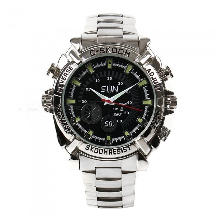 32GB HD 1080P Waterproof Watch Infrared Video Camera - Silver