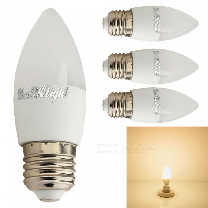YouOKLight E27 3W 6-LED 5730SMD Warm Whtie Candle Light Bulbs (4Pcs)