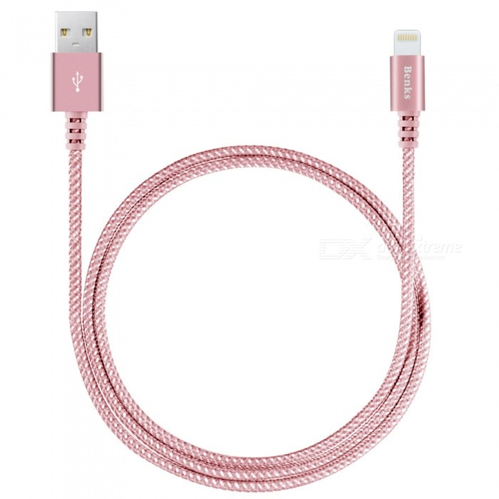 Benks Sturdy Unbreakable MFi Lightning Nylon Braided Cable - Rose Gold