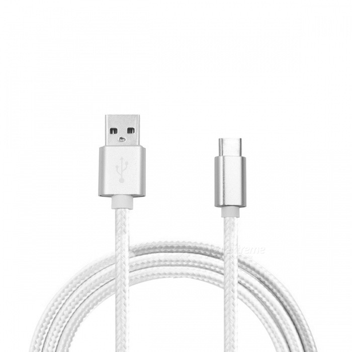 Mini Smile 2.1A Type-C to USB 2.0 Charging Data Cable - Silver (1m)