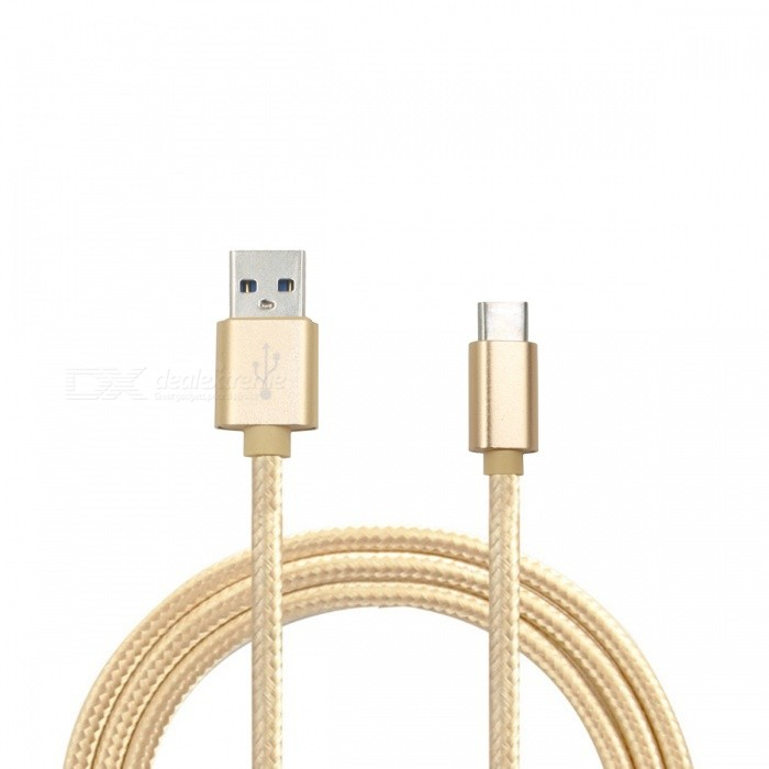 Mini Smile 2.1A Type-C to USB 2.0 Charging Data Cable - Golden(1m)