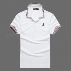 LUCKY SAILING Summer Stripe Quick Dry Men's Polo Shirt - White (XL)