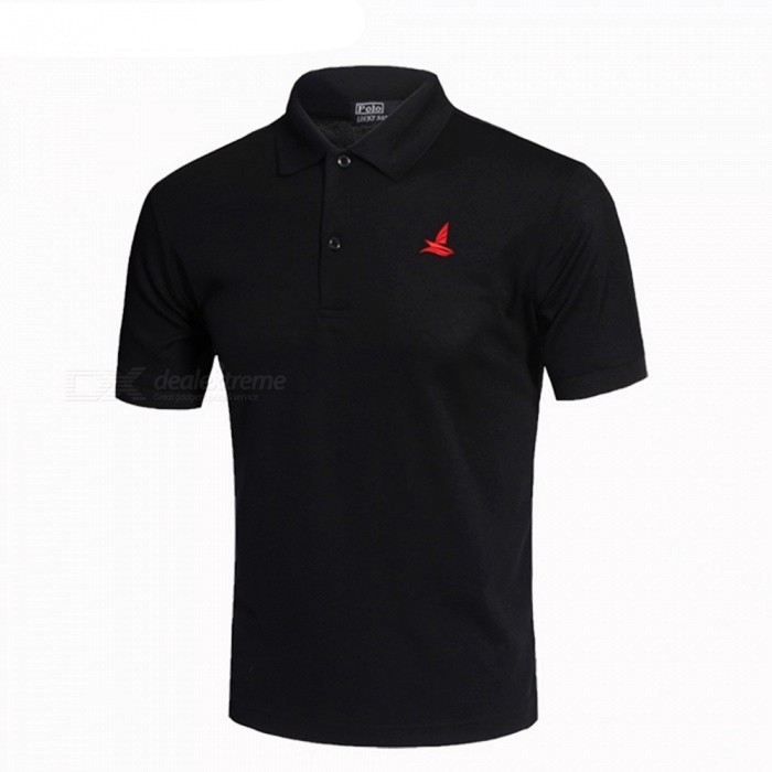 LUCKY SAILING Summer Solid Quick Dry Men's Polo Shirt - Black (XL)