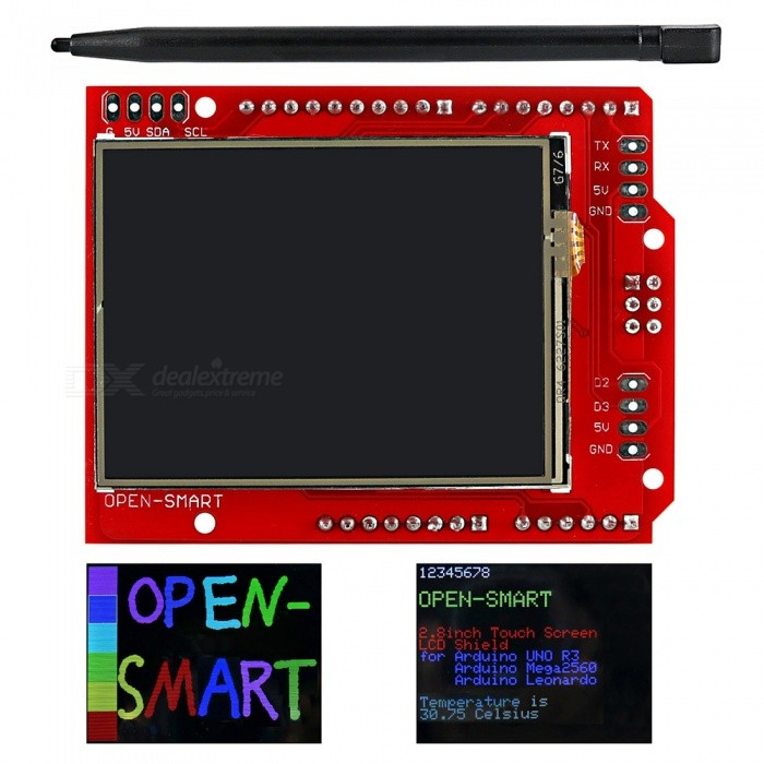 OPEN-SMART 2.2 TFT LCD Touch Screen Expansion Shield w/ Touch PenBoards &amp; Shields<br>Form  ColorRed + BlackModelN/AQuantity1 pieceMaterialPCB + Alloy + PlasticEnglish Manual / SpecYesDownload Link   http://drive.google.com/drive/folders/0B6uNNXJ2z4CxeWNXMkFoa3ZCU00?usp=sharingPacking List1 x Shield1 x Touch pen<br>