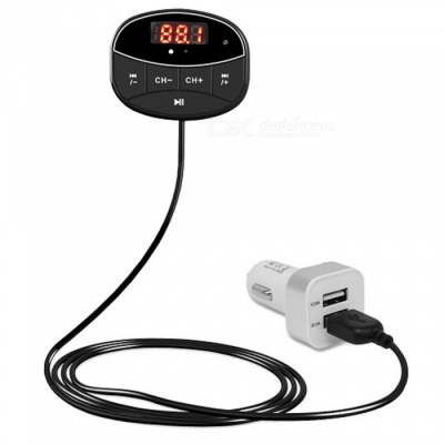 Wireless Bluetooth v3.0 Car Kit FM Transmitter - Black + Multicolor
