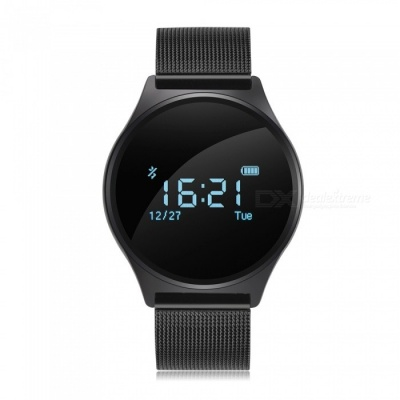 Blood Pressure Smart Watch w/ Heart Rate Monitor - Metal Strap (Black)