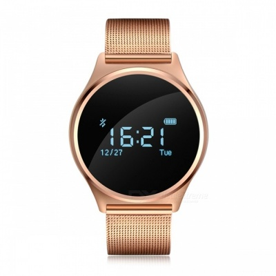 Blood Pressure Smart Watch w/ Heart Rate Monitor - Metal Strap (Gold)
