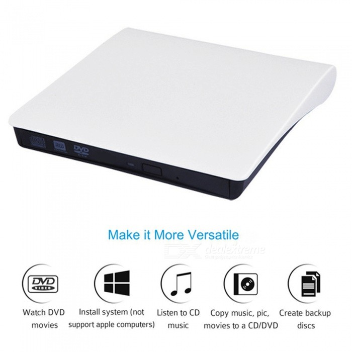 Miimall Portable External CD-RW Drive DVD-R Combo Burner Player -White