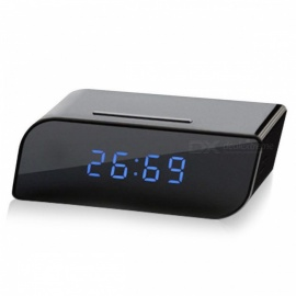 720P HD Wireless Wi-Fi Clock Security DVR IP Camera - Black (EU Plug)