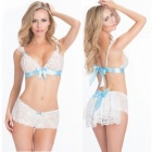 Sexy Bride Set Lace Perspective Lifestyle Lingerie - White + Blue