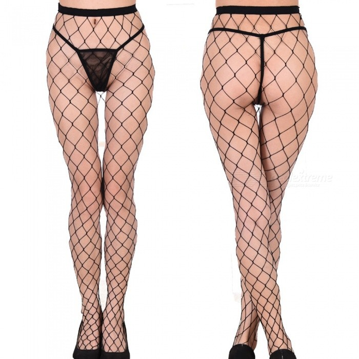 Sexy Halkfria Bottom Socks Fun Mini fisknät (Large Net) - Svart