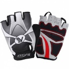 NUCKILY Outdoor Cycling Summer Polyester Half-Finger Gloves - Grey (M)