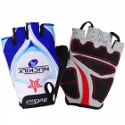 NUCKILY Outdoor Cycling Summer Polyester Half-Finger Gloves - Blue (L)