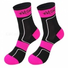 NUCKILY Non-slip Long Socks for Cycling - Fluorescent Red + Black