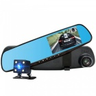 Junsun HD 720P Video Recorder Rearview Mirror Car DVR w/ Dual Lens