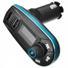 "BSTUO 1.1"" LCD Dual USB 2.1A Bluetooth Car Audio FM Transmitter - Blue"
