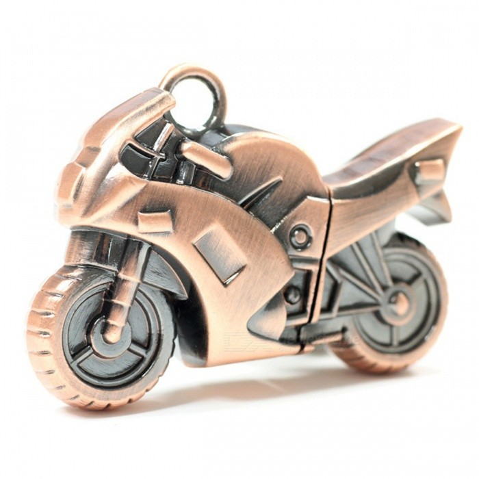 Motorcycle Style USB 2.0 Flash Drive Memory Stick - Bronze (4GB)