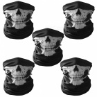 Unisex Skull Pattern Seamless Outdoor Cycling Face Masks -Black (5PCS)