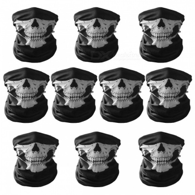 Unisex Skull Pattern Seamless Outdoor Face Masks - Black (10 PCS)