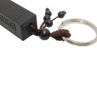 Jujube Handmade Carved Wood Tube Stainless Steel Keychain - Black