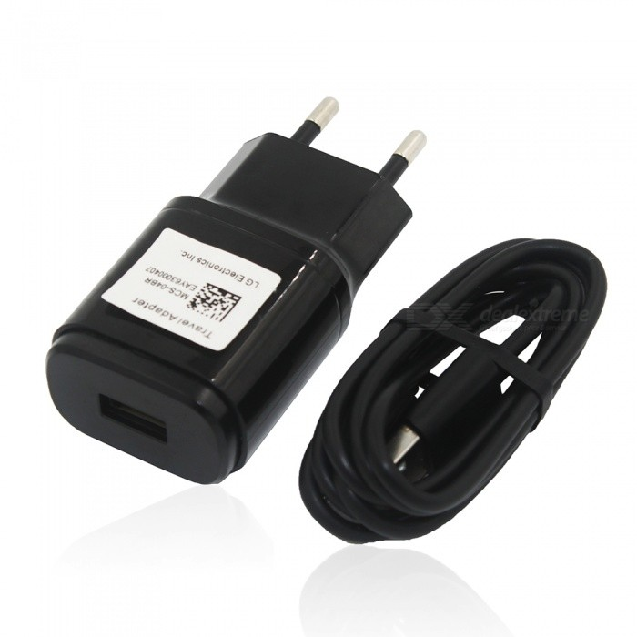 EU Plug USB 5V 1.8A Adaptive Fast Charger + Charging Cable - Black