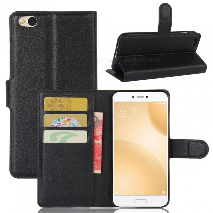Protective PU Leather Case Cover w/ Card Slots for Xiaomi 5C - Black