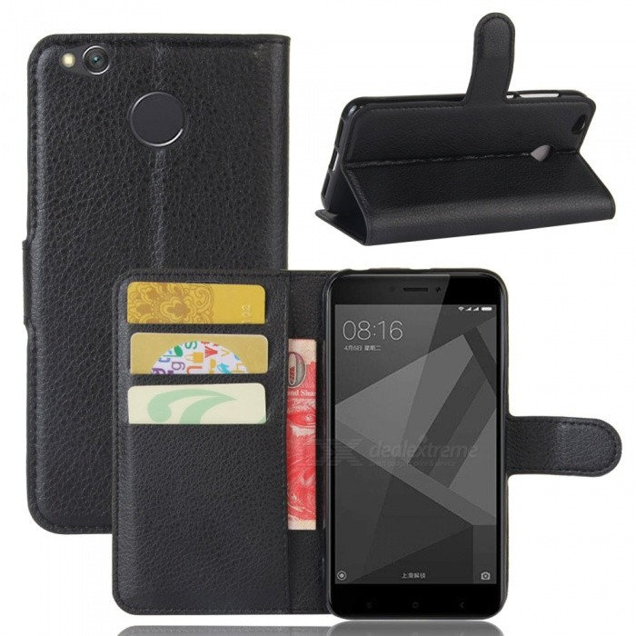 PU Leather Case Cover w/ Card Slots for Xiaomi Redmi 4X - Black