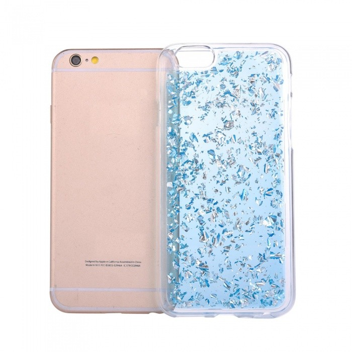 Gold Foil TPU lisse TPU Mobile Phone Back Case pour IPHONE 7 - Bleu