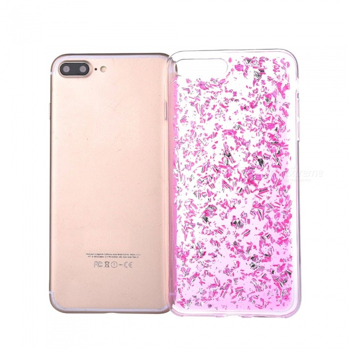 Gold Foil TPU Cell Phone Back Case for IPHONE 7 PLUS - Deep PinkTPU Cases<br>Form  ColorDeep PinkQuantity1 DX.PCM.Model.AttributeModel.UnitMaterialTPUCompatible ModelsiPhone 7 PLUSStyleBack CasesPacking List1 x Case<br>