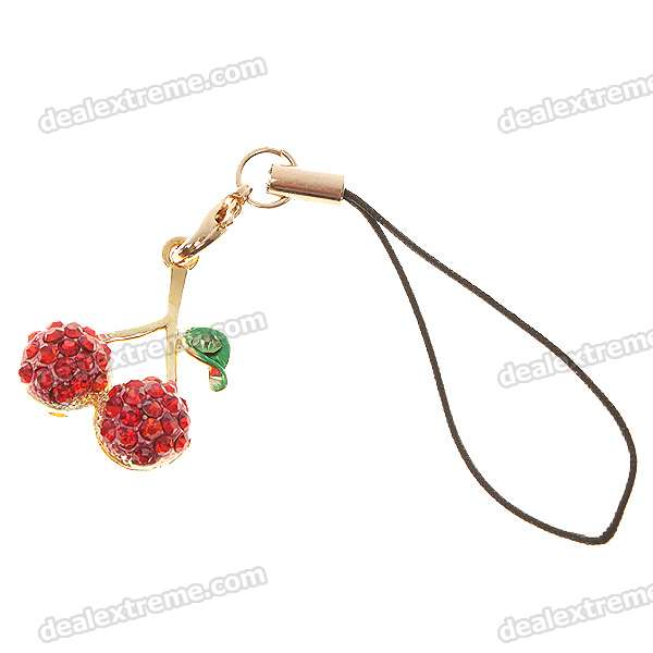 Cute Cherry Cell Phone Strap - Red (2-Pack)