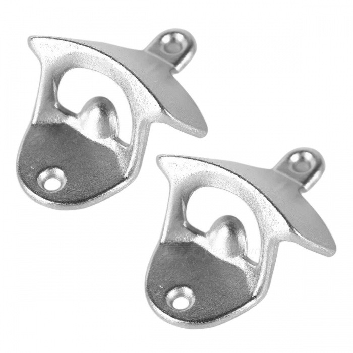 Wall Mounted Unique-design Metal Beer Bottle Openers - Silver (2PCS)Opener &amp; Stopper<br>Form Color Silver (2Pcs)MaterialMetalQuantity2 piecesPacking List2 x Bottle openers<br>
