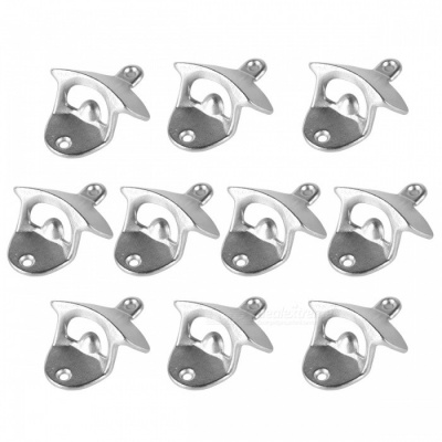 Wall Mounted Unique-design Metal Beer Bottle Openers - Silver (10PCS)