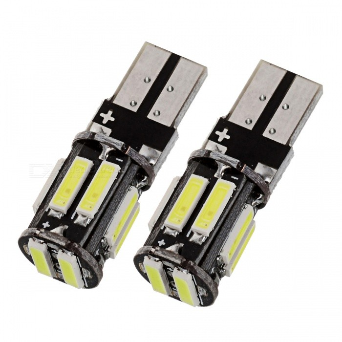 T10 5W White Light 6000K 400lm LED Car Clearance Lamp  (2 PCS /DC 12V)LED Wedge Bulbs<br>Color BINWhite (2 PCS)ModelT10Quantity2 piecesMaterialPCBForm Color Black + YellowEmitter TypeLEDChip BrandOthers,7020 SMDChip Type7020 SMDTotal Emitters10Power5WColor Temperature6000 KTheoretical Lumens450 lumensActual Lumens400 lumensRate Voltage12VWaterproof FunctionNoConnector TypeT10ApplicationLicense plate light,Steering light,Clearance lamp,Instrument lamp,Signal light,Indicator lamp,Roof lightPacking List2 x LED lights<br>